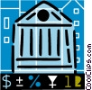 Bank symbol with dollar signs Vector Clip Art graphic
