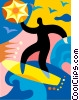 Surfer riding a wave Vector Clipart illustration