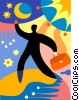 Accomplishment man reaching for the stars Vector Clipart image