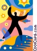Accomplishment man reaching for the stars Vector Clipart graphic