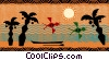 Beach Scenes Palm trees, with birds, and boat Vector Clipart picture
