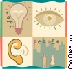 Idea Concepts with people, eyes and ears Vector Clip Art image