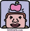 Apple dropping on mans head Vector Clip Art graphic