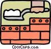 Brick layer spreading cement Vector Clipart picture