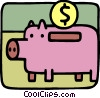 Vector Clip Art image  of a Piggy bank and change