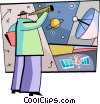telescope with satellite dish and satellite Vector Clipart illustration