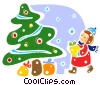 Christmas Tree with girl and presents Vector Clipart illustration