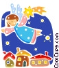 Angel with shooting stars and homes Vector Clip Art image