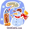Snowman with house Vector Clip Art picture