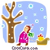 Christmas Scenes girl walking with sled and presents Vector Clipart picture