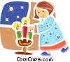 Christmas Scenes girl lighting candles Vector Clipart illustration