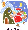 Santa on skates delivering presents Vector Clip Art picture