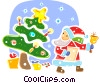 Santa delivering presents Vector Clip Art picture