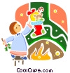 Christmas morning scene with stocking Vector Clipart image