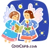 Angels singing Vector Clip Art graphic