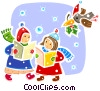Christmas Carolers with bird and holly Vector Clipart graphic
