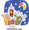 Vector Clipart image  of a Christmas Scenes