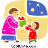 Christmas Scenes Child giving mother present Vector Clip Art image