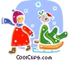 Christmas Scenes Girl with cut Christmas tree and bird Vector Clip Art graphic