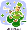 Leprechaun sitting on four leaf clover smoking pipe Vector Clipart picture