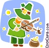 Leprechaun playing the fiddle by pot of gold Vector Clipart illustration