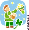 St. Patrick's Day celebration with beer and gold Vector Clipart illustration