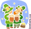 St. Patrick's Day Leprechaun with beer and pot of gold Vector Clip Art picture