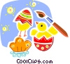Vector Clip Art graphic  of a Easter Chicks with Eggs