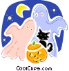 Ghosts with black cat and jack-o-lantern Vector Clipart image