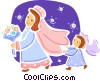 Bride with bridesmaid helping with veil Vector Clipart image