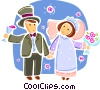 Vector Clipart picture  of a Bride and Groom