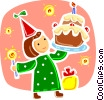 Vector Clipart picture  of a Girl celebrating with birthday