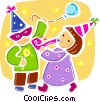 Children celebrating a birthday Vector Clipart graphic