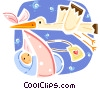 Stork flying with baby Vector Clip Art picture