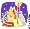 Christian scene with bible and candle Vector Clipart image