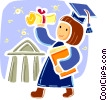 College Graduate with diploma Vector Clipart picture