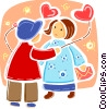 Boy giving girl heart balloon to girlfriend Vector Clip Art image