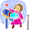 Girl with full mailbox Vector Clipart image