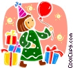 Birthday girl witr presents and balloon Vector Clipart picture