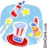 Independence Day Fireworks with Uncle Sam's hat Vector Clipart illustration