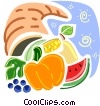 Cornucopia filled with pumpkin, berries, corn and watermelon Vector Clipart illustration