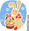 Easter Bunny with basket of eggs and tulips Vector Clipart graphic