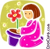 Child Playing with flower Vector Clip Art graphic