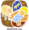 Baby Jesus with sheep Vector Clipart graphic