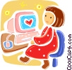 Woman looking for love on line Vector Clip Art graphic