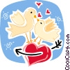 Love Birds kissing on heart Vector Clip Art picture