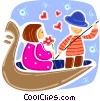 Couple going for romantic Gondola ride Vector Clipart picture