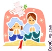 Parishioners praying with dove of peace Vector Clip Art picture