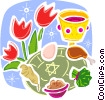 Jewish feast with wine and tulips Vector Clipart illustration