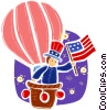 Hot Air Balloons with Uncle Sam character Vector Clip Art picture